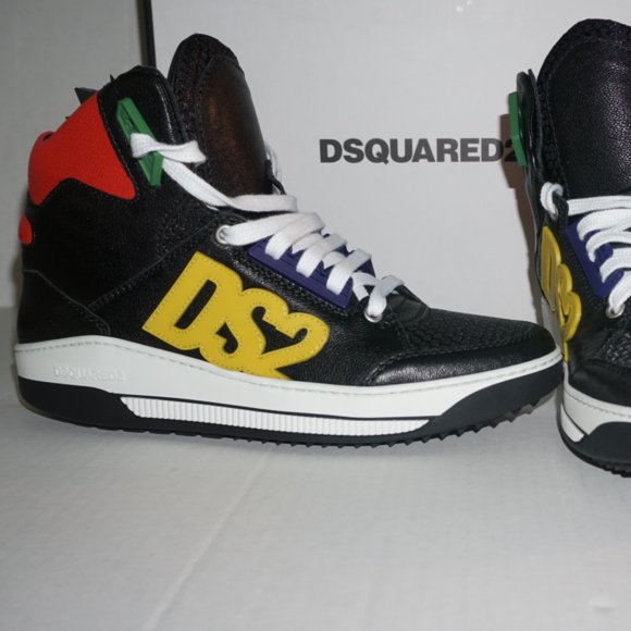info for 04a2d 08aae New Dsquared2 Dsquared Sneakers Black Yellow DS2 NWT