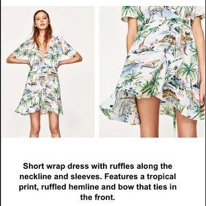 3ec766e357d Zara Dresses - Zara Tropical Print Wrap dress