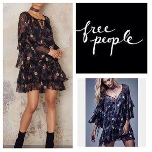 Free People Black Combo Sunsetter Mini Dress. NWT.