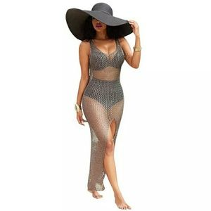 Other - Maxi Sheer Crochet Grey Cover-up