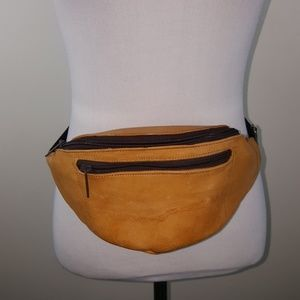 Vintage unisex folk leather tan boho fanny pack