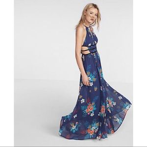 Express Floral Print Strappy Cut-Out Maxi Dress