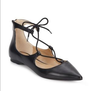 Black Leather Lace Up Flats