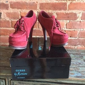 Red Suede lace-up platforms - Guess by Marciano