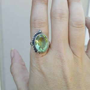 Jewelry - NWOT - Green Amethyst Ring in SS.925