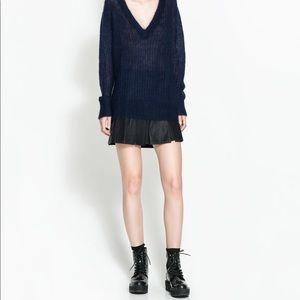 Zara faux leather pleated mini skirt NWT