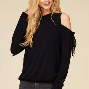 Cold Shoulder French Terry Top