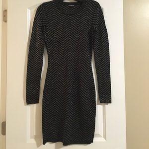 Black and Silver Chevron Sweater Dress
