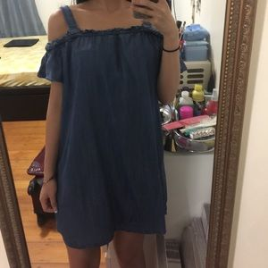 Dark wash denim off the shoulders dress
