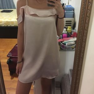 Light pink silk slip dress