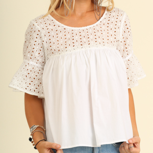 Umgee Tops - NWT UMGEE WHITE Baby Doll Top W/ BELL SLEEVES