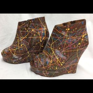 Jeffrey Campbell Wedge Shoes Paint 7 Brown Leather