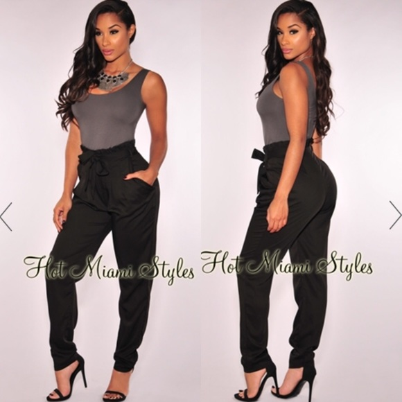 3b8f00760e54 Hot Miami Styles Pants - Black High-Waist Belted Pants