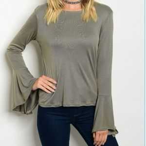 Tops - Long Bell Sleeve Olive Top