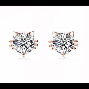 Rose Gold Plated Swarovski Crystal Cat Earrings