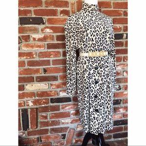 Vtg80s Leopard Long Sleeve A-line Silk Dress 8