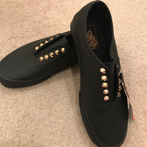 19d9a2ddbb6 Brand new Black leather Vans with gold spikes
