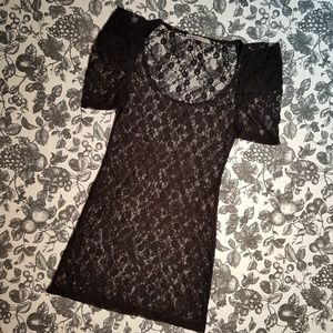 Four Stars Black Stretchy Black Lace Top