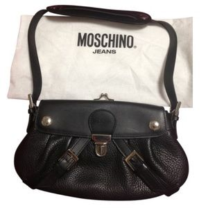 Moschino black leather bag with coin purse