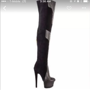 Shoes - Black Over The Knee Platform Boots