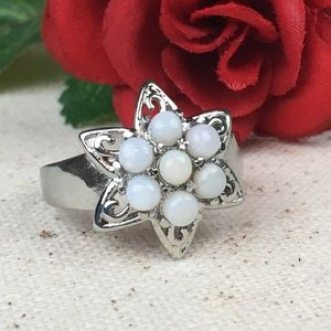 Australian White Opal Stainless Star Ring