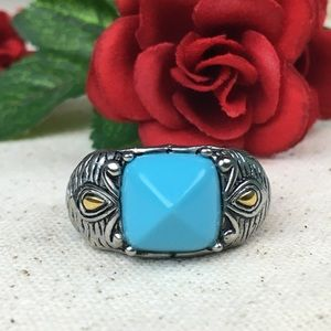 Blue Howlite Elephant Ring Stainless Steel
