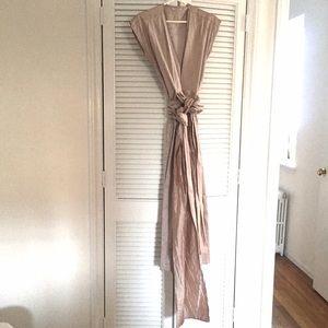 100% crushed silk wrap dress in blush - w pockets!