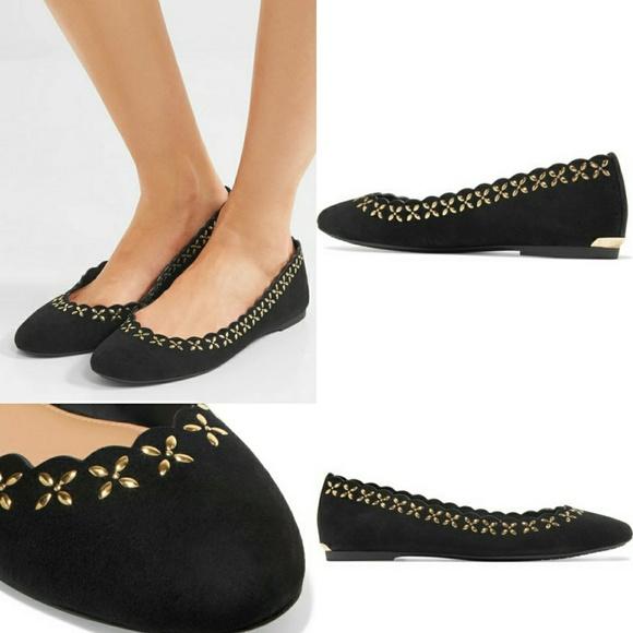 Lauren Ralph Lauren Black Suede Ballet Flats Shoes