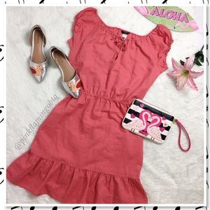 J. Crew Pink Linen Cap Sleeve Peasant Dress