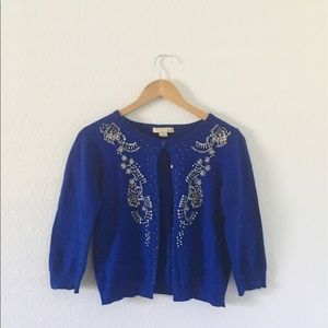 FOREVER 21 Royal Blue Cardigan with Beaded Details