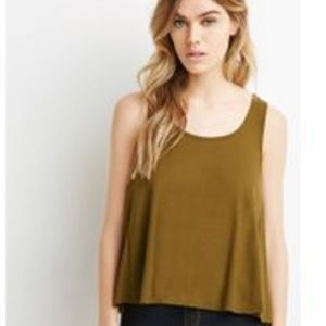 Olive Green Swing Ribbed Crop Top