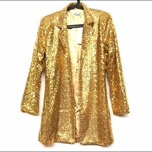 Jackets & Blazers - Stunning Golden sequin medium length blazer