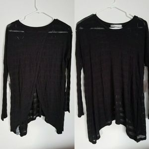 Black Sheer Open Back Tunic Stripe Longsleeve Goth