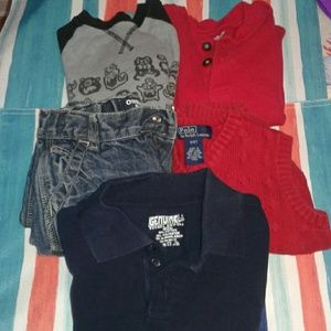 Bundle of boys 4t shirts and size 5 toddler pants