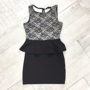 Black and White Peplum Dress With Lace Print