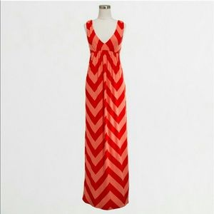 J.Crew Coral Chevron Stretch Jersey Maxi Dress M