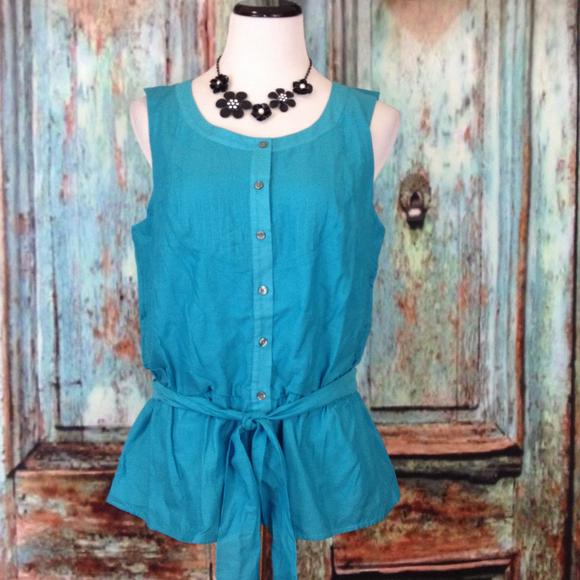 J jill sleeveless silk cotton button down blouse shirt for Sleeveless cotton button down shirts