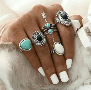 ❤ NEW 5 pics ring set Vintage Style Plated Silver