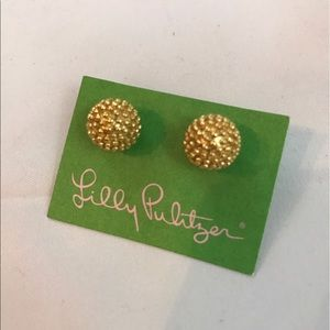 NWT Lilly Pulitzer gold ball earrings...