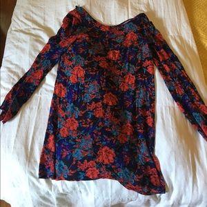 Floral long sleeve, short dress