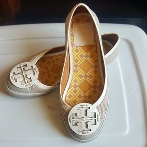 Tory Burch Tan and Canvas flats with cream logo