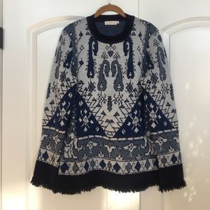 Tory Burch Blue Tapestry Sweater