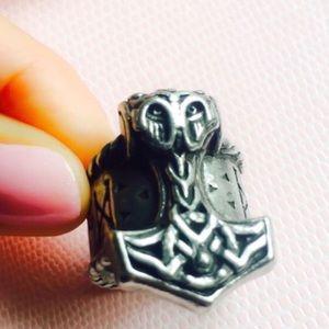 Thor's Bold Rune Hammer Ring 8