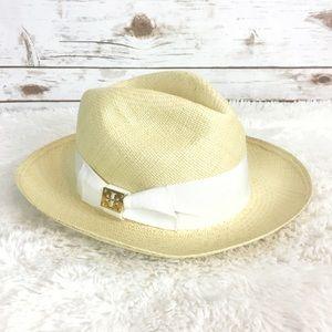 c3b196e0f8582 Tory Burch Accessories - tory burch    grosgrain white straw hat fedora