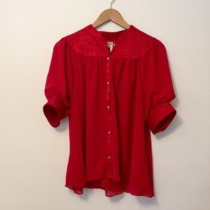 Anthropologie • Colline Bibbed Blouse in Red