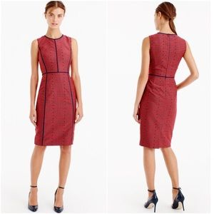 J.Crew Red Navy Crimson Foulard Sheath Dress