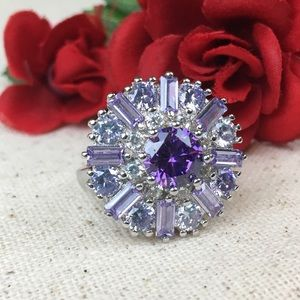 Jewelry - Amethyst & White Sapphire Baguette Flower Ring