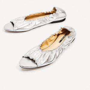 Zara Flats Silver Leather Ballerinas