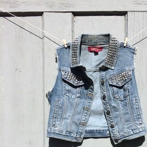 Forever 21 Studded Jean Vest with GRL PWR Patch
