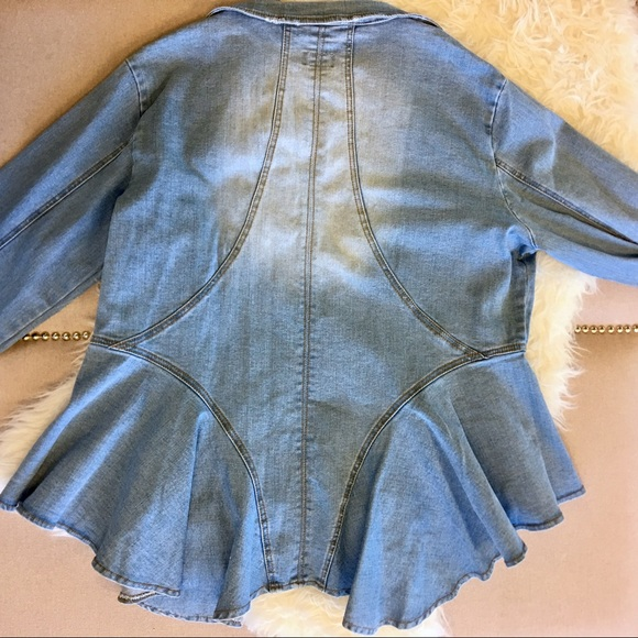 eleven60 Jackets & Coats - Eleven60 Distressed Denim Peplum Jacket